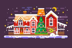 Red House And Green Christmas Tree. by TastyVector on @creativemarket