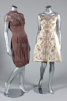 30af89b117a7 (Left and right) Cocktail dresses by Rahvis, late 1960's-early 1970's UK