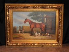 Victorian Oil Painting Horse Dogs Pastoral Scene Signed G Roy