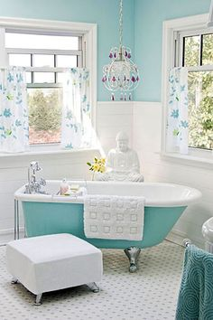 love the teal in the bathroom.