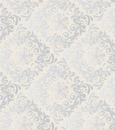 Legacy Studio™ Cotton Fabric-Metallic Silver Swirl Square