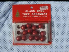 13 Tiny Mini Glass Ball Christmas Ornaments Red Made in Taiwan Vintage