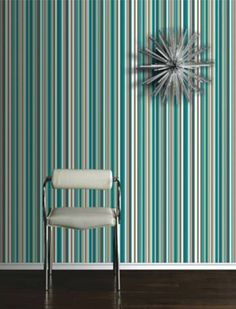 Papel tapiz de rayas en azul en VENTA. Blue stripes wallpaper