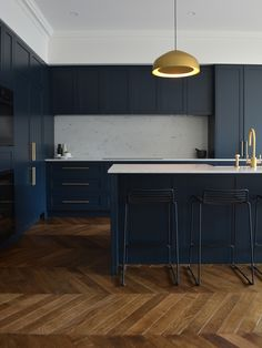 Kitchen — Sarah Healy Design. We went with Dulux Oolong in matte 2 pak in the end and it's the perfect dark navy.