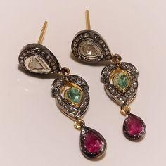 Natural Diamond Ruby Emerald Dangle Earrings 925 Sterling Silver Jewelry ER-30