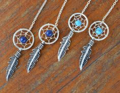 Sterling Silver Dream Catcher and Feather Earrings - Threader Earrings - Lapis Lazuli and Turquoise by JBellsGems on Etsy
