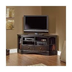 Harbor View Corner Entertainment Credenza 402902 Sauder intended for proportions 2000 X 2000 Wooden Corner Tv Cabinets For Flat Screens - Corner Carpets Ikea Tv, Home Entertainment Furniture, Entertainment Center Decor, Entertainment Units, Corner Tv Cabinets, Corner Armoire, Corner Tv Stands, Tv Stand Designs, Table Designs