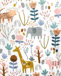 I just adore the new range that the lovely babywear team have created with my print. In store now! Pattern Design Drawing, Surface Pattern Design, Kids Patterns, Print Patterns, Kids Brand, Safari, Watercolor Animals, Kids Prints, Pattern Illustration