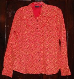Wrangler Western Shirt Juniors XL Snaps Orange Melon Cowboy Country Vintage BTS #Wrangler #Western