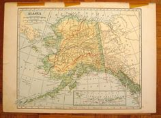 Vintage map of Alaska and Alabama 1930s by ExperiencedFindings, $8.00