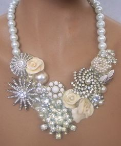 She Finds necklace vintage rhinestone brooches OOAK by secondlookjewelry
