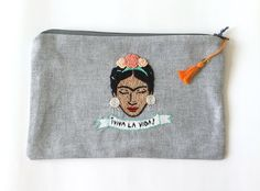 Embroidered  zipper pouch Frida by LatelierdEloiseS on Etsy