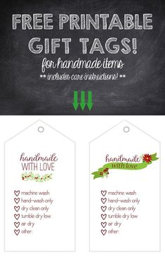 Free printable gift tags, holiday or christmas themed, for knit , crochet or woven handmade gifts.