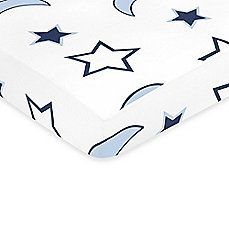 image of Sweet Jojo Designs Starry Night Collection Fitted Stars and Moon Print Crib Sheet in Multi