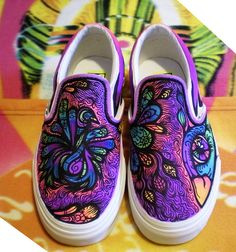Hand-painted bird Slip-Ons / via Flickr
