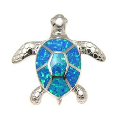 - Honu Size: 30mm(L) x 30mm(W) - Bail Opening: 3.5mm (can fit a chain as thick as 3mm) - Stone: Opal - Coating: Rhodium Plated on Sterling Silver - Weight: approx. 8.3 grams - Metal: 925 Sterling Silv