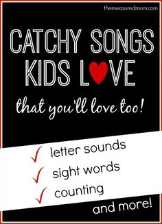 LOVE Heidisongs -- created by a kindergarten teacher for her class and now available for the rest of us. Brilliant stuff -- all four of my kids (2,3,5,6) sing along!