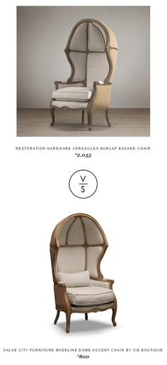Restoration Hardware Versailles Burlap Backed Chair - copycatchic Vintage Industrial Decor, Vintage Decor, Vintage Furniture, Home Furniture, Furniture Design, Industrial Style, Accent Chairs For Living Room, New Living Room, Living Room Decor