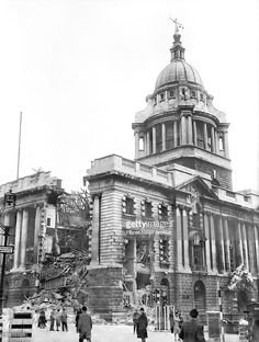 Damaged part of the Old Bailey, famous Central Criminal Court, hit in a recent Nazi raid on the London area, 15th May 1941.