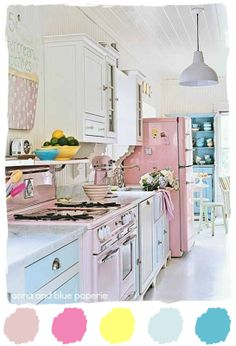 #kitchen #vintage #color #palette #cottage #pink #blue #tracey #rapisardi anna and blue paperie