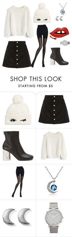 """""""😉"""" by tlamarrr ❤ liked on Polyvore featuring Kate Spade, AG Adriano Goldschmied, Maison Margiela, Chicwish, Wolford, ChloBo and Larsson & Jennings"""