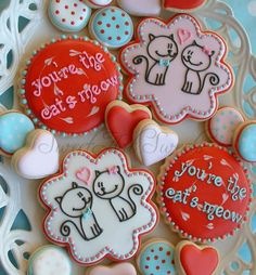 Love cookies - youre the cats meow cookies - Valentines day via Etsy