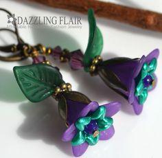 Handmade Purple Lucite Flower Emerald Green Leaf Leverback Bronze Tone Earrings #Dazzlingflair