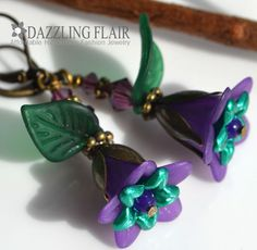Handmade Purple Lucite Flower Emerald Green Leaf Leverback Bronze Tone Earrings