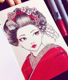 ma grand mère adore les geisha, je devrais lui faire ce dessin pour son prochain anniversaire =-)