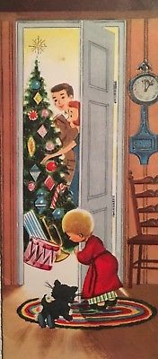 VINTAGE MID CENTURY USED CHRISTMAS CARD BOY & HIS KITTEN SNEAK A PEEK