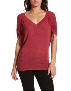 DRAWSTRING-SHOULDER HACCI TOP