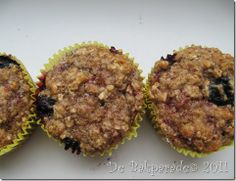 Havermout Appelmoes Bosbes Muffins Even de toegevoegde suiker vervangen door... Agave?
