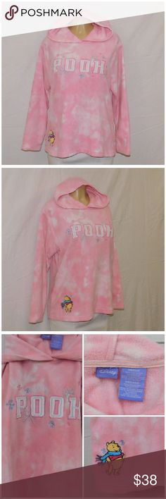 """Offers of 40% Less on BUNDLES Always Accepted! DISNEY, Pooh Hoodie, size Medium See Measurements, Pullover, Embrodiery, 3 clear rhinestones in embroidery snowflakes, machine washable, medium weight soft fleece material, approximate measurements: 26"""" length, 23"""" bust laying flat, 23"""" sleeve. ADD to a BUNDLE! Offers of 40% Less on BUNDLES Always Accepted! Disney Tops Sweatshirts & Hoodies"""