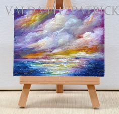 Sunset at the Ocean. original inches oil by valdasfineart Glue Art, Mini Canvas, Mini Paintings, Inspiration Wall, Art Styles, Drawing Art, Kids Decor, Beautiful Paintings, My Favorite Color