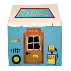 "This sturdy tent's blue fabric is appliqued and embroidered with garage themed images including a ""Garage"" sign, ""Office"" sign, gas pump, wrenches and shelf with various auto fluids. Available in larg"