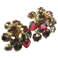 Castle Cliff's stunning vintage heart shaped dimensional earrings are made up of red rhinestone drops too; they are wonderful, dimensional with lots of movement and oh that wonderful deep red color that is so hard to find from brendastreasures on rubylane.com!