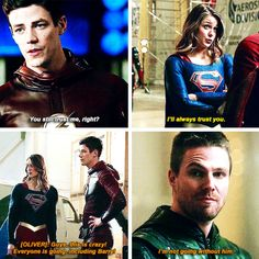 Oliver & Kara supporting Barry! - Team Arrow in #TheFlash #3x08 - Crossover Part 1!