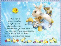 wierszyki wielkanocne Easter Printables, Emoticon, Happy Easter, Winnie The Pooh, Origami, Disney Characters, Fictional Characters, Diy And Crafts, Christmas Cards