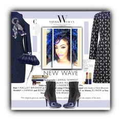 """""""The New Wave Natural Woman"""" by terrelynthomas ❤ liked on Polyvore featuring Roland Mouret, Fendi, Amanda Wakeley, Estée Lauder, Tiffany & Co., navyblue and embraceyournaturalcurls"""
