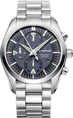 Eterna Watch KonTiki Chronograph #bezel-fixed #bracelet-strap-steel #brand-eterna #case-depth-16mm #case-material-steel #case-width-42mm #chronograph-yes #date-yes #delivery-timescale-call-us #dial-colour-black #gender-mens #luxury #movement-automatic #official-stockist-for-eterna-watches #packaging-eterna-watch-packaging #style-dress #subcat-kontiki #supplier-model-no-1241-41-41-0217 #warranty-eterna-official-2-year-guarantee #water-resistant-200m