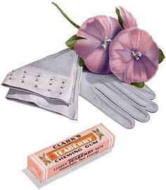 A sweetly beautiful 1946 ad for Clark's Teaberry Chewing Gum. #vintage #ad #gum #candy #food #gloves #flowers #1940s #purple