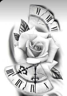 Pocket Watch Tattoo Design, Clock Tattoo Design, Sketch Tattoo Design, Tattoo Sleeve Designs, Tattoo Sketches, Rose Tattoo Stencil, Rose Drawing Tattoo, Flower Tattoo Drawings, Flower Tattoo Designs