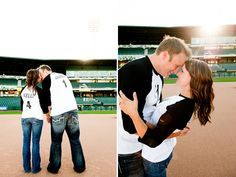 Super cute baseball-themed engagement photos