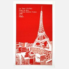 Eiffel Tower Tea Towel Red, 10,50€, now featured on Fab.