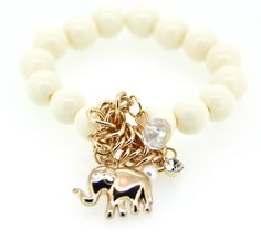 Stylish Korean White Handmaking Elephant Pendant Alloy and Crystal Ornaments for Girls