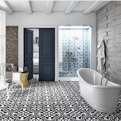 Classic black and white #patterned #tile exudes timeless #design in this #bathroom! Many thanks to @annsacks for tagging us in this show-stopping image! // #architecture #bathroomdesign #blackandwhite #flooring #floor #home #homedecor #instahome #instastyle #interiors #ihavethisthingwithfloors #ihavethisthingwithtiles #idcdesigners #interiordesign #stylish #tile #tilelove #tileporn #tileaddiction #tileometry by tileometry