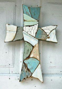 Crosses Decor, Wood Crosses, Mosaic Crosses, Old Rugged Cross, Mosaic Art, Mosaic Glass, Wood Mosaic, Wood Art, Beautiful Gorgeous