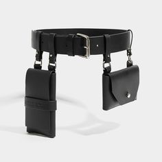 he Black Double Pocket Belt, a utilitarian take on a classic belt, made with smooth saddlery leather. Fastening on a single buckle, this Leather Belt Bag, Leather Buckle, Leather Harness, Leather Purses, Cinto Corset, Leather Accessories, Fashion Accessories, Smooth Leather, Black Leather