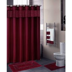 maroon shower curtain set. Amazon com  Burgundy FLORAL RIBBON 18 Piece Bathroom Set 2 Rugs Purple Shower CurtainsFloral This Addison Gold Maroon Curtain comes with pure elegance