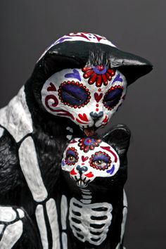 Day of the Dead Cat and Kitten by temikasperry on Etsy